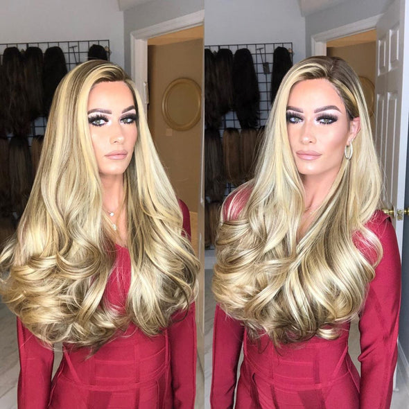 super gorgeous blonde long curly wig