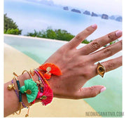 Vibrant Bohemia Tassel Charm Bangle Bracelet Collection-Bracelets-Gold-Aqua-Neoma Sanativa Design