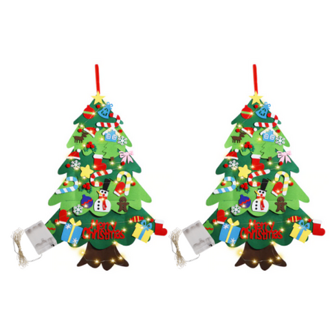 (2 Pack) DIY Light Up Felt Tree