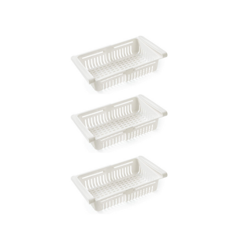 Pull Out Storage Box (3 Pack) (White - Stretchable)