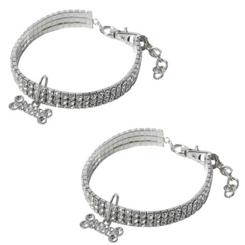 (2 Pack) Rhinestone Pet Collar