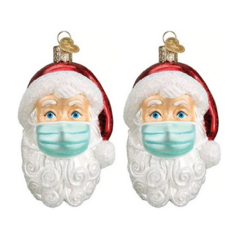 (2 Pack) Santa in Mask 2020 Ornament