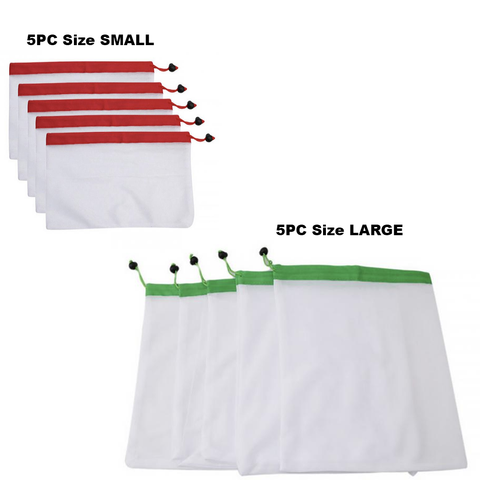 5 Large & 5 Small Reusable Mesh Shopping Bags