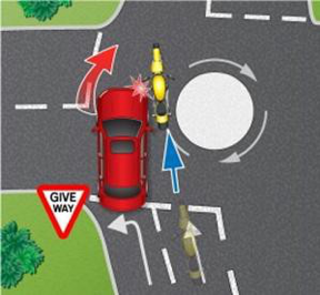 Third party continues on roundabout in wrong lane