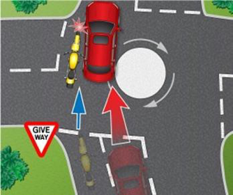 Third party exits roundabout in wrong lane
