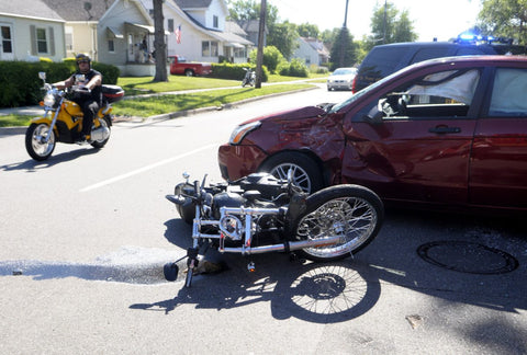 motorbike and car accident