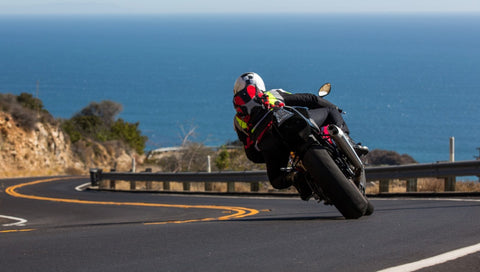 cornering on a coastal road