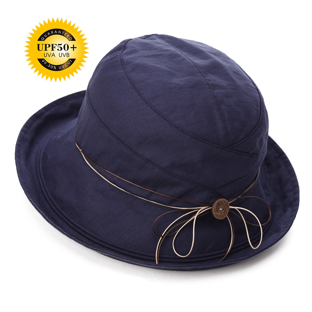 Womens UPF50 Cotton Packable Sun Hats w//Chin Cord Wide Brim Stylish 54-60CM