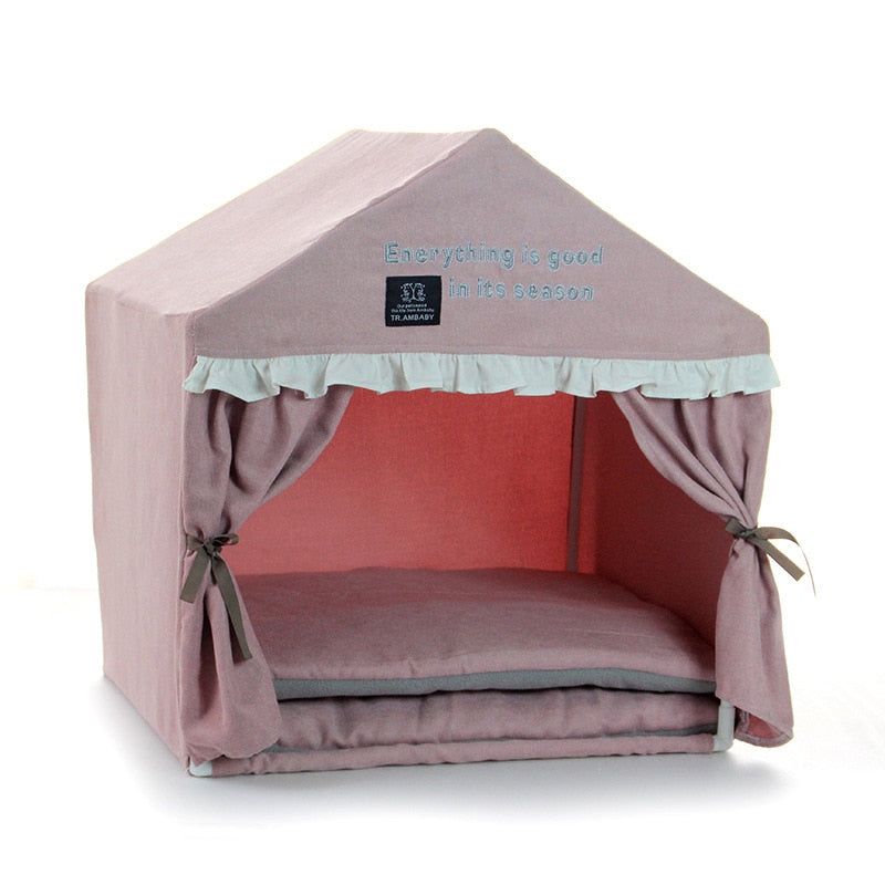 Pink Princess Camping House For Dogs Winter Warm Pet Small Breeds