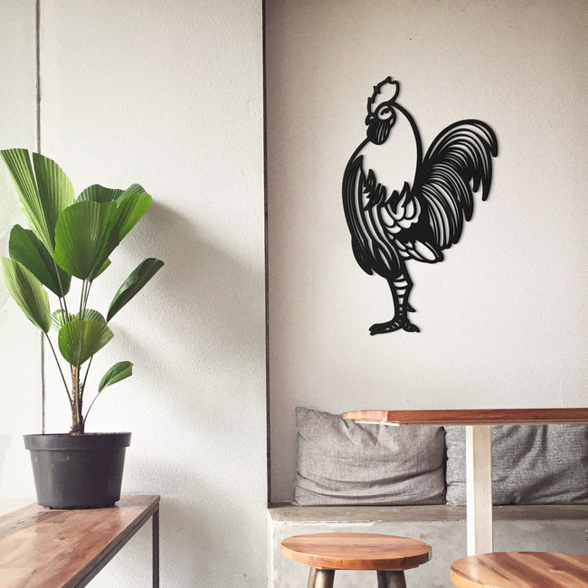 Cuadro decorativo gallo de madera para pared