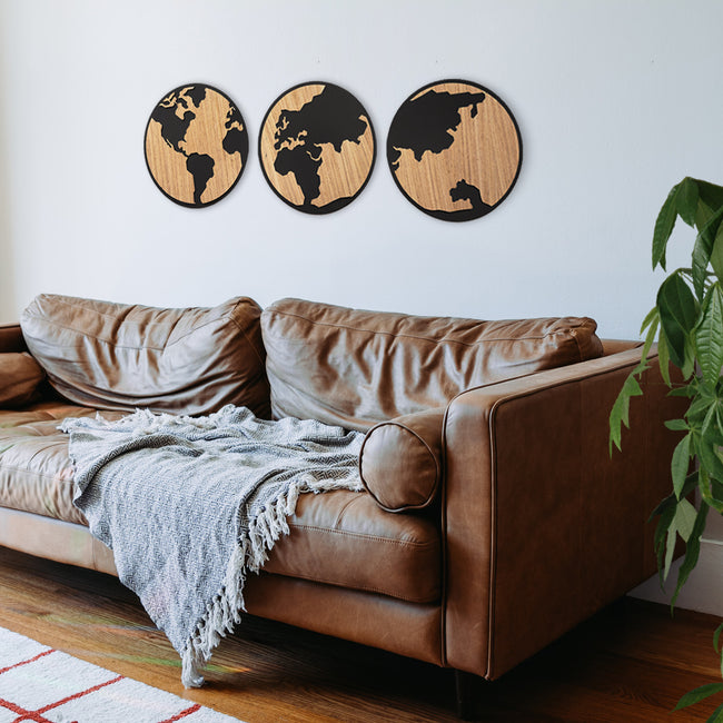 GLOBOS MUNDO DECORATIVOS MADERA PARED