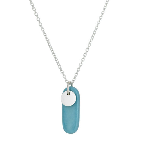 Porcelain Ocean Drive Silver Necklace