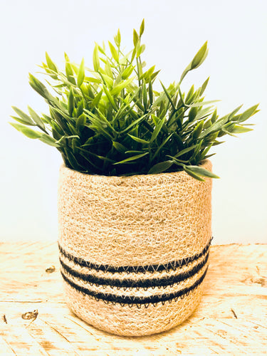 Stripy Jute Plant Pot