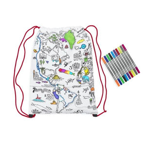 World Map Doodle BackPack