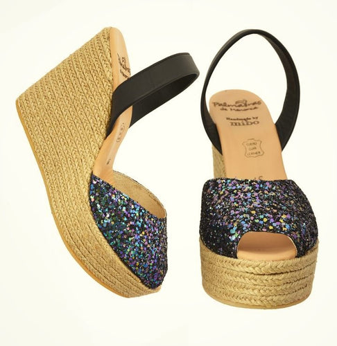 Black Glitter Espadrille Wedges