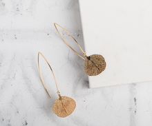 Load image into Gallery viewer, Silver/Gold Leaf Drop Earrings