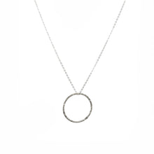 Load image into Gallery viewer, Silver Hammered Hoop Necklace