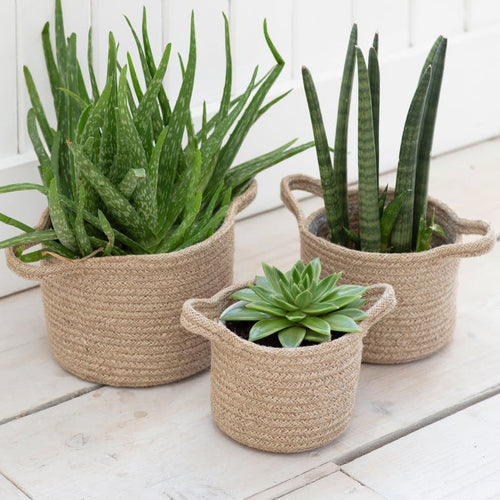 Set of 3 Jute Plant Pots