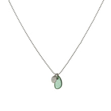 Load image into Gallery viewer, Green Sea Glass and Silver Disc Necklace