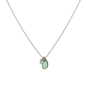 Green Sea Glass and Silver Disc Necklace