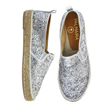 Load image into Gallery viewer, Silver Glitter Espadrilles