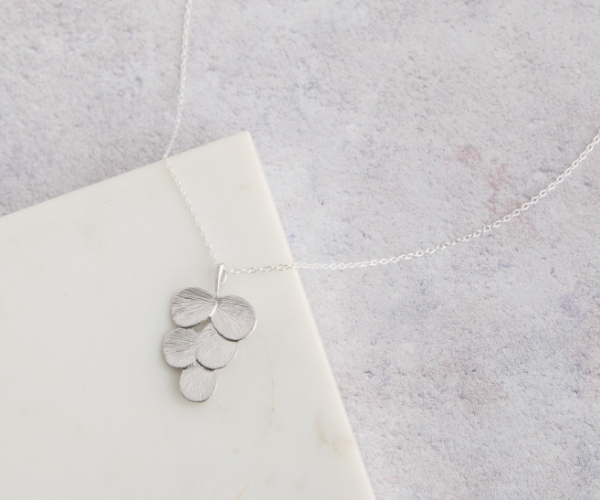 Grape Leaf Silver Necklace