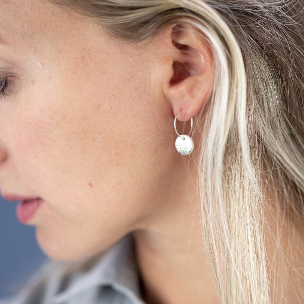 Porcelain Disc Silver Mist Earrings