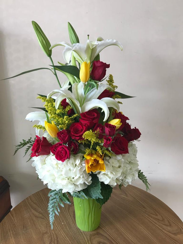 GLW121 - RED ROSES, LILLIES, SOLIDAGO, HYDRANGEAS AND GREENERY