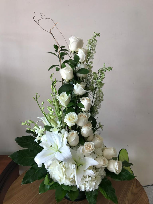 GLW122 - WHITE FLOWERS ARRANGEMENT - ROSES, LILIES, HYDRANGEAS, STOCK AND GREENERY