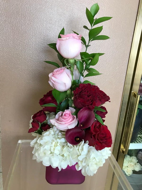GLW123 - CUTE RED AND PINK ROSES, PURPLE CALLAS, WHITE HYDRANGEAS AND GREENERY - SMALL