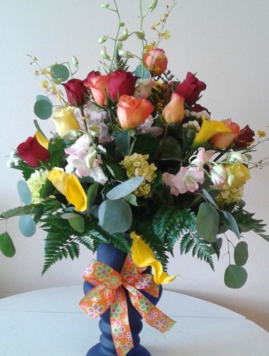 GLW145 - COLORFUL ASSORTED ROSES, CALLAS, ORCHIDS AND GREENERY WITH EUCALYPTUS