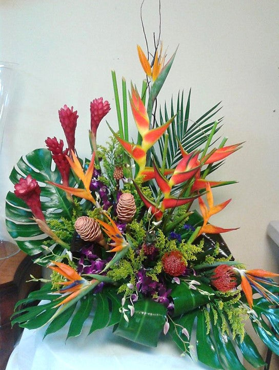 GLW153 - HELICONIAS, BIRD OF PARADISE, DENDROBIUM ORCHIDS, PINCUSHION AND LUSH GREENERY