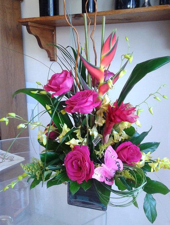 GLW158 - PINK ROSES, BIRD OF PARADISE, DENDROBIUM ORCHIDS AND GREENERY