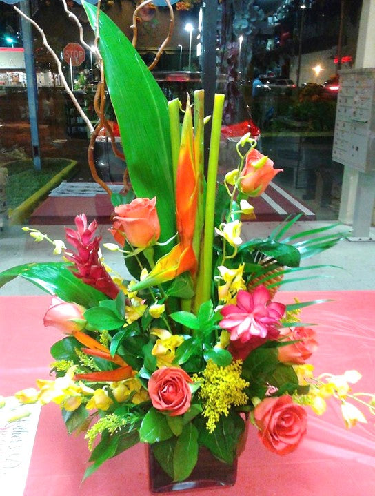 GLW161 - ROSES, HELICONIAS, BIRD OF PARADISE, DENDROBIUM ORCHIDS, ASSORTED GREENERY