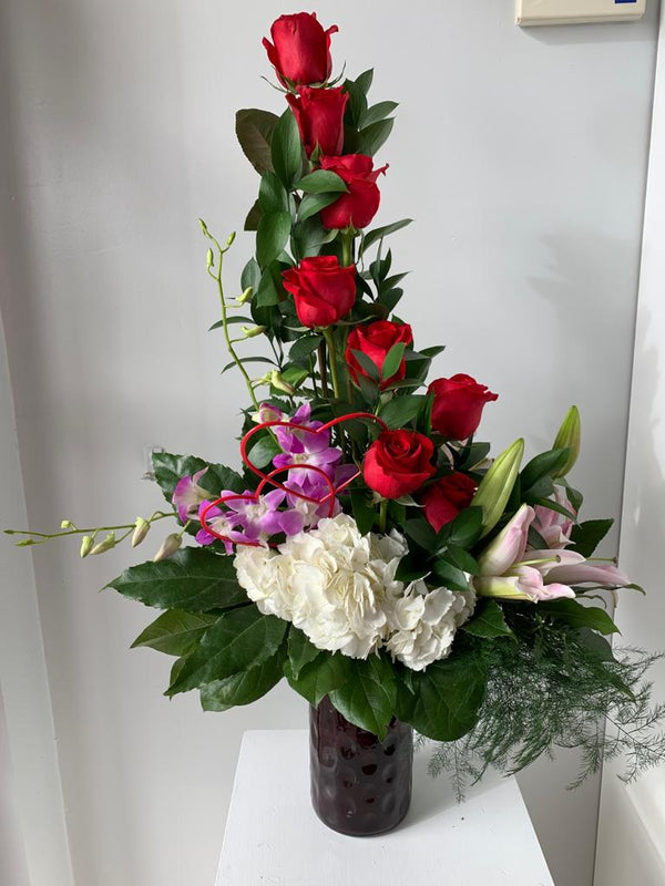 GLW140 - RED ROSES, DENDROBIUM ORCHIDS, HYDRANGEAS, LILLIES AND GREENERY