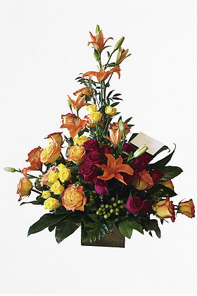 GLW005 - ORANGE ROSES, MINIROSES, LILIES