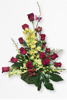 GLW006 - 12 RED ROSES AND CYMBIDIUM ORCHIDS