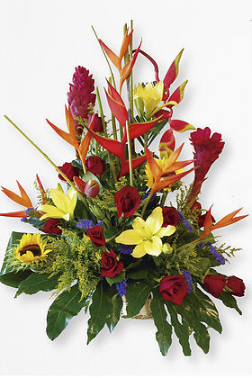 GLW027 - EXOTIC FLOWERS BASKET WITH ROSES AND LILIES