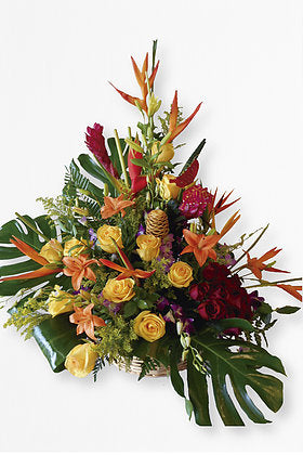 GLW028 - EXOTIC BASKET WITH YELLOW ROSES