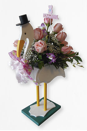 GLW034 - STORK WITH ROSES