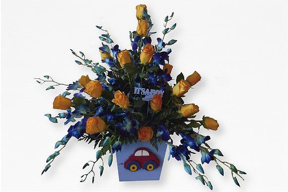 GLW036 - YELLOW ROSES AND BLUE ORCHIDS