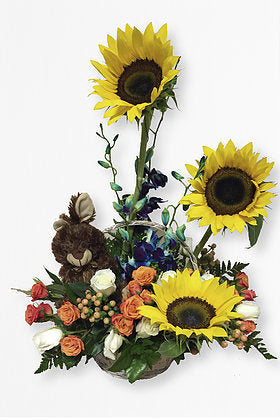 GLW038 - SUNFLOWERS BASKET WITH TOY