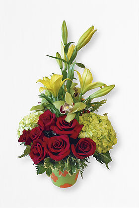GLW063 - RED ROSES HYDRANGEAS AND ORCHIDS