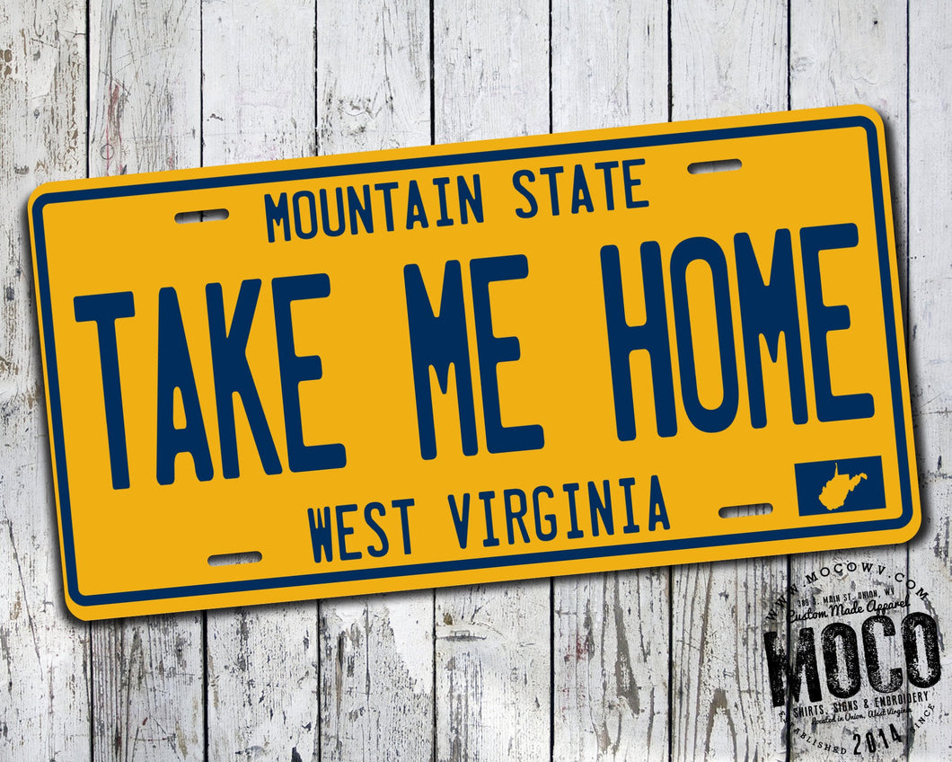 Take Me Home Vintage West Virginia License Plate