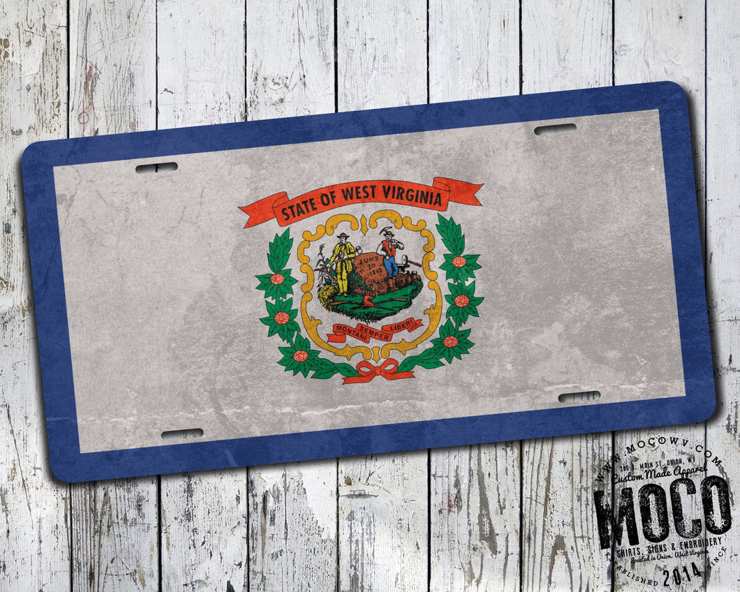 West Virginia Grunge State Flag License Plate