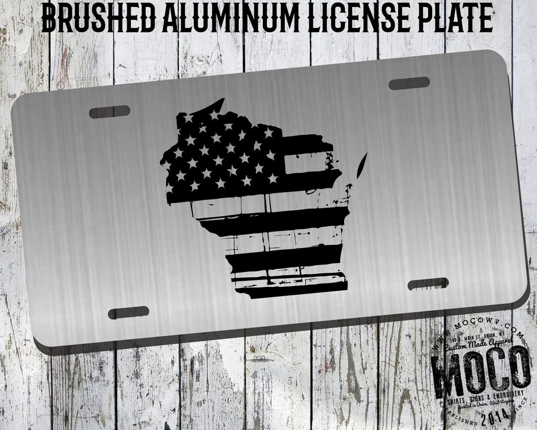 Wisconsin Distressed Flag License Plate