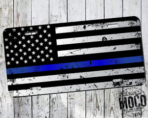 Thin Blue Line Distressed Flag License Plate