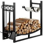 Amagabeli Firewood Log Rack Storage with 4 Tools Fireplace Indoor or Outdoor Wood Holder-Fireplace Log Rack with tools-Amagabeli