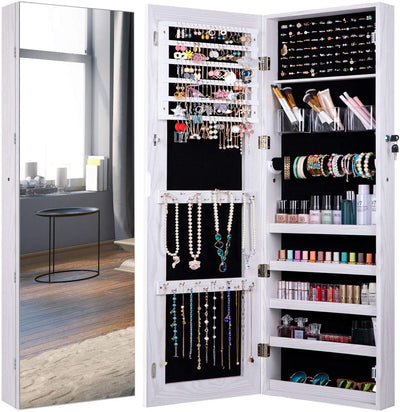 Jewelry Cabinet Organizer Jewelry Box Armoire Full Length Glass Mirror Earrings Necklace Bracelet Storage Lockable 3 Angel-jewelry cabinet-Amagabeli