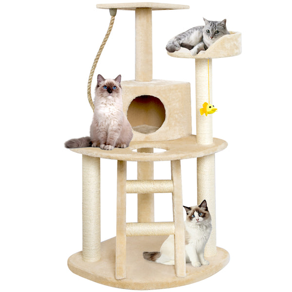 BEAU JARDIN Cat Tree Condo Furniture with Scratching Posts 47.5 Inch Cat Activity Tree Heavy Duty Corner Cat Tower Pet House Beige-Pet Supplies-Amagabeli